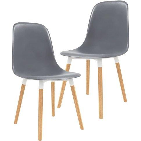 Dining Chairs 2 Pcs Grey Plastic - Vidaxl