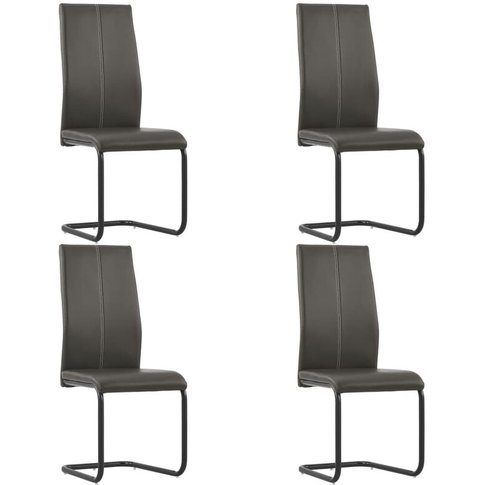 Cantilever Dining Chairs 4 Pcs Brown Faux Leather - ...