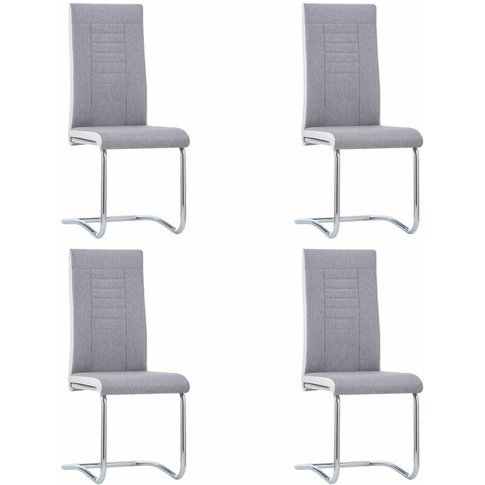 Cantilever Dining Chairs 4 Pcs Light Grey Fabric - V...