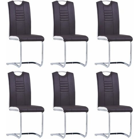 Cantilever Dining Chairs 6 Pcs Brown Faux Leather - ...