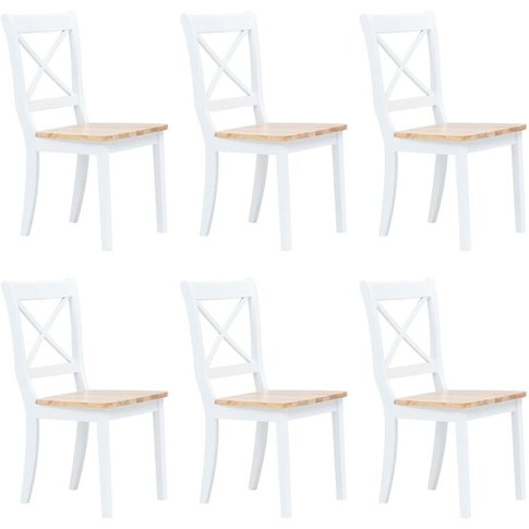 Dining Chairs 6 Pcs White And Light Wood Solid Rubbe...