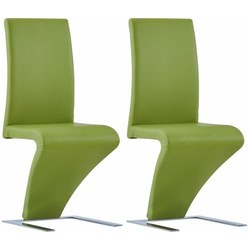 Dining Chairs With Zigzag Shape 2 Pcs Green Faux Lea...