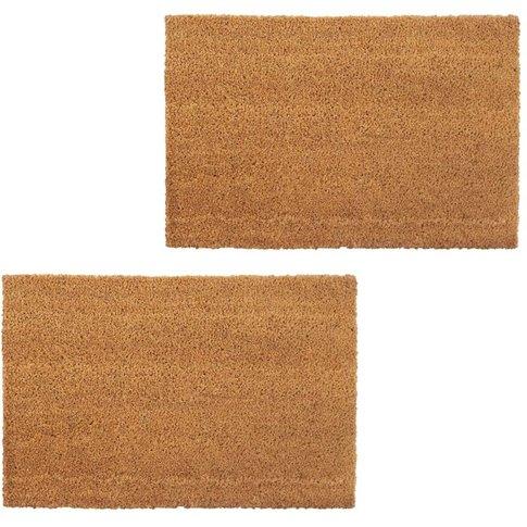 Doormats 2 Pcs Coir 24 Mm 40x60 Cm Natural - Vidaxl