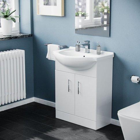 Dyon 650 Mm White Bathroom Basin Cabinet Vanity Unit...