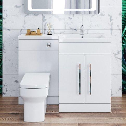 1100mm L Shape Bathroom Vanity Sink Unit Storage,Rig...