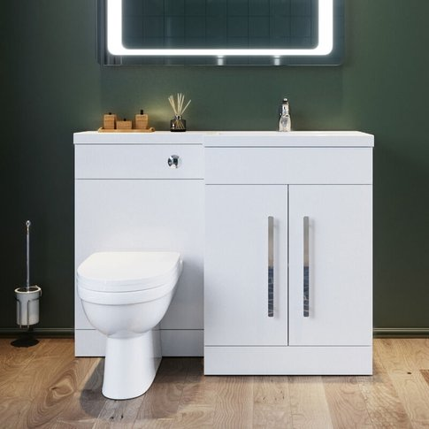 1100mm L Shape Right Hand Bathroom Vanity Sink Unit ...