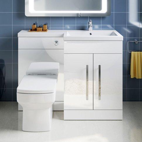 L Shape Bathroom Vanity Sink Unit 1100mm Furniture S...