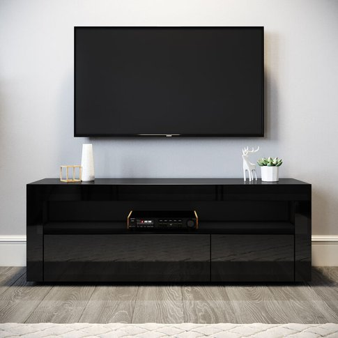 Elegant Modern Gloss Tv Unit Stand 1200mm With Led A...