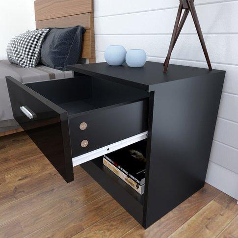 Elegant Modern High Gloss Bedside Cabinet Night Stan...