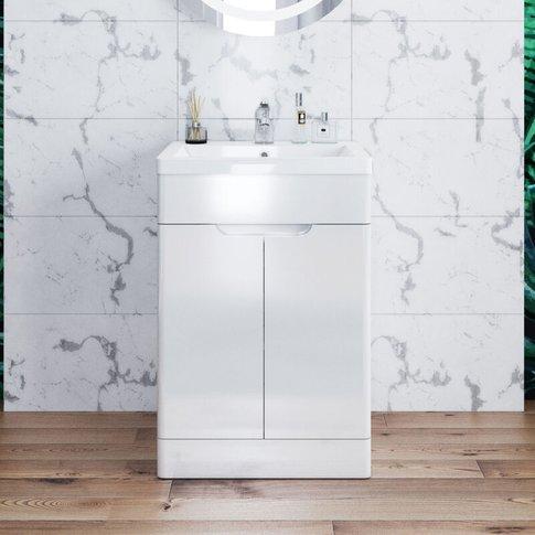 Elegant Vanity Sink Unit With Vitreous Resin Basin, High Gloss White Vanity Unit Supplied, Bathroom Storage Furniture 490mm