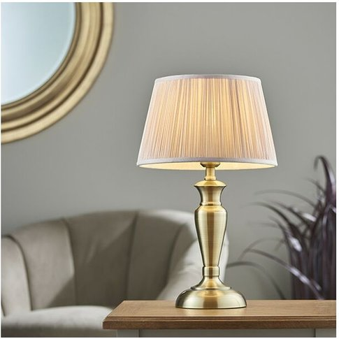 Endon Lighting Oslo & Freya - Table Lamp Antique Brass Plate & Dusky Pink Silk 1 Light Ip20 - E27 - Endon Directory Lighting