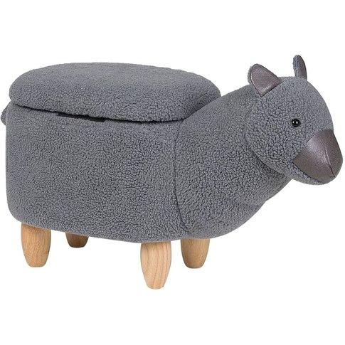 Fabric Storage Animal Stool Grey Alpaca - Beliani