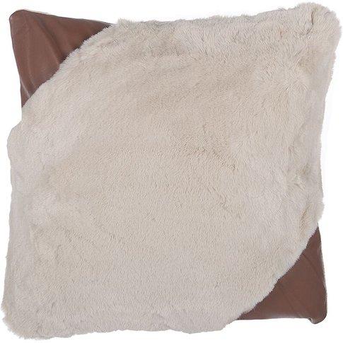 Faux Fur Cushion 42 X 42 Cm Beige Ehnar - Beliani