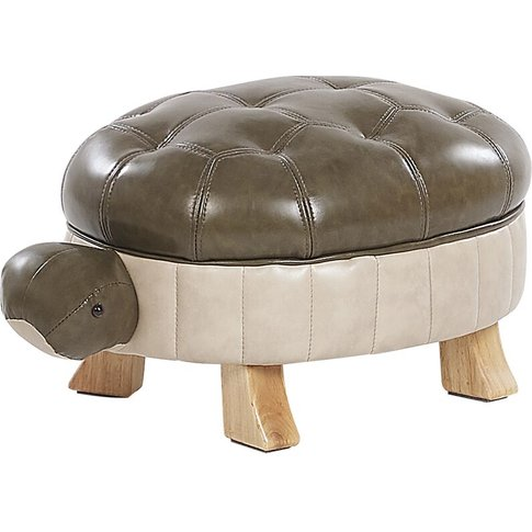 Faux Leather Animal Stool Green Turtle - Beliani