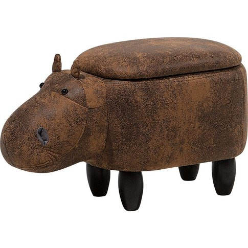 Faux Leather Storage Animal Stool Brown Hippo - Beliani