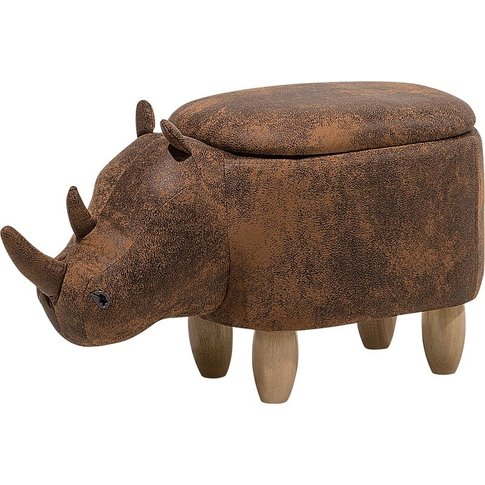 Faux Leather Storage Animal Stool Brown Rhino - Beliani