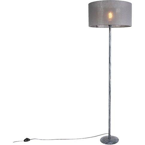 Modern Floor Lamp Weathered Grey With 50cm Grey Shad...
