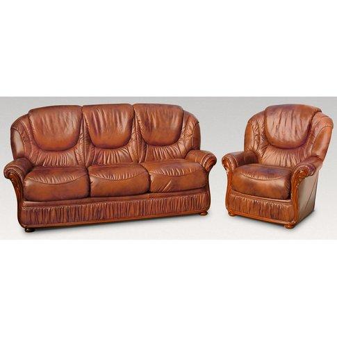 Florida 3 Seater + Armchair Genuine Italian Brown Le...