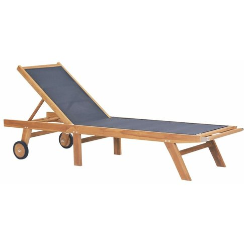 Folding Sun Lounger With Wheels Solid Teak And Texti...