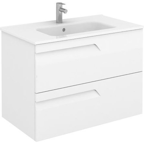 Frontline Royo Vitale 800mm Gloss White Wall Hung Vanity Unit - Frontline Bathrooms