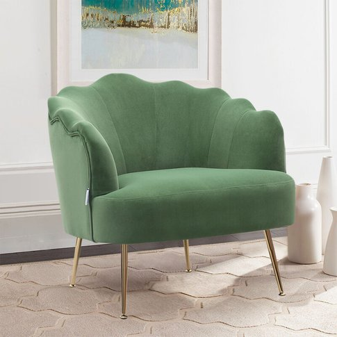 Frosted Velvet Shell Accent Chair, Green - Livingand...