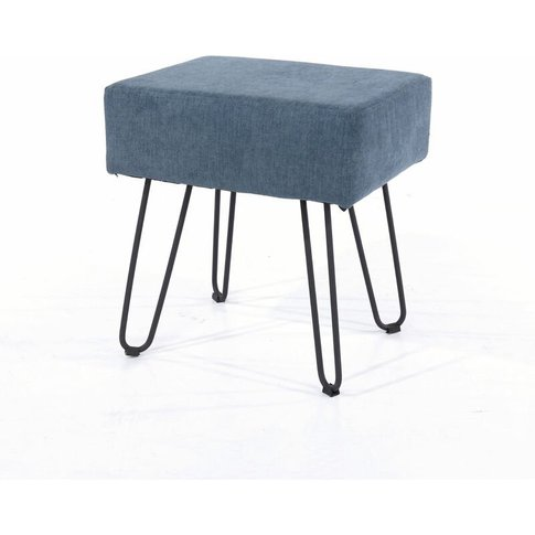Furry Blue Fabric Upholstered Rectangular Stool With...