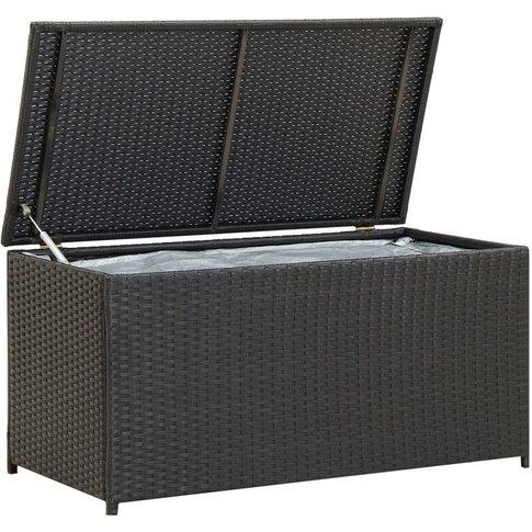 Garden Storage Box Poly Rattan 100x50x50 Cm Black - Vidaxl