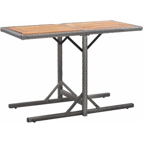 Garden Table Anthracite Poly Rattan And Solid Acacia...