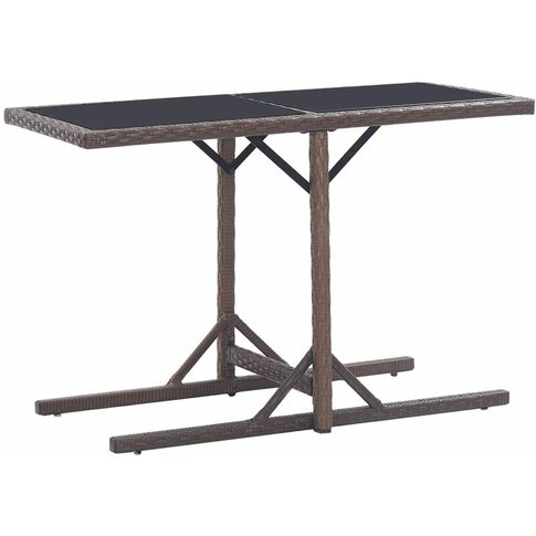 Garden Table Brown 110x53x72 Cm Glass And Poly Ratta...