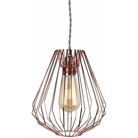 Copper Wire Geometric Non Electrified Cage Pendant (...