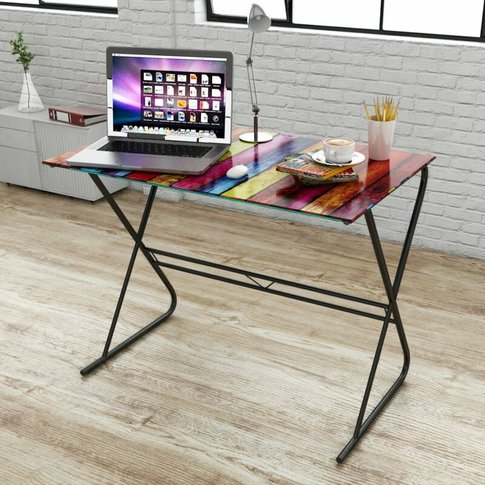 Youthup - Glass Desk With Rainbow Pattern