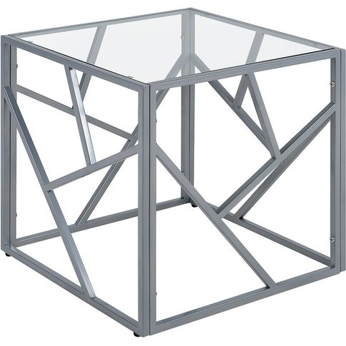 Glass Side Table Silver Orland - Beliani
