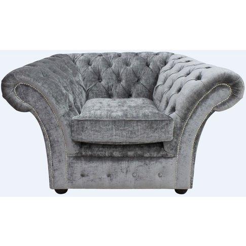 Gosford Buttoned Studded Chair Velvet Modena Smoke - Designer Sofas 4 U