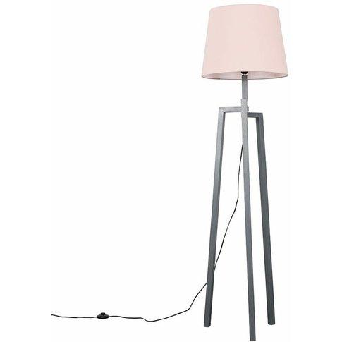 Grey Wooden Tripod Step Floor Lamp + Pink Shade + 6w...