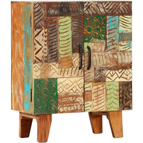 Hand Carved Sideboard 60x30x75 Cm Solid Reclaimed Wo...