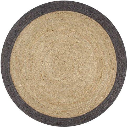 Handmade Rug Jute With Dark Grey Border 150 Cm - You...