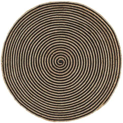 Handmade Rug Jute With Spiral Design Black 120 Cm - ...
