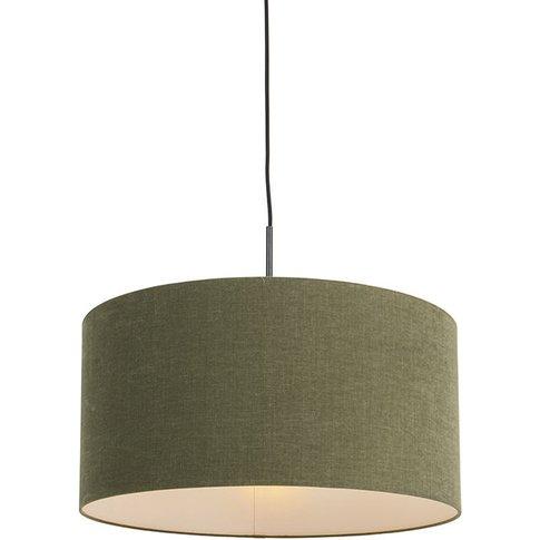 Modern Pendant Lamp Black With 50cm Moss Green Shade...