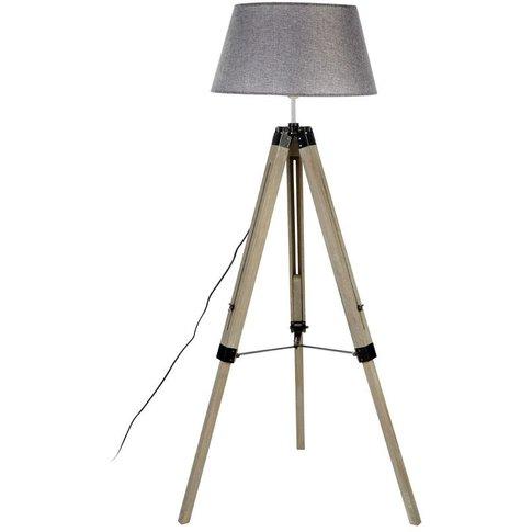 Harper Floor Lamp, Grey Wood Tripod, Grey Shade / Eu...