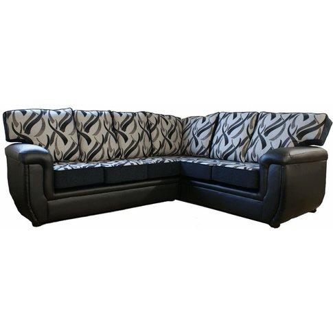 Harvey Designer Fabric Leather Corner Suite - Design...