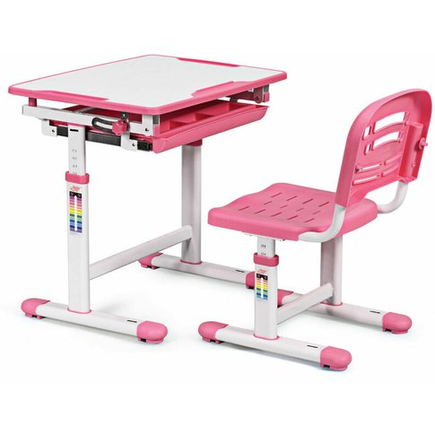 Height Adjustable Children Kids Study Desk Table Cha...