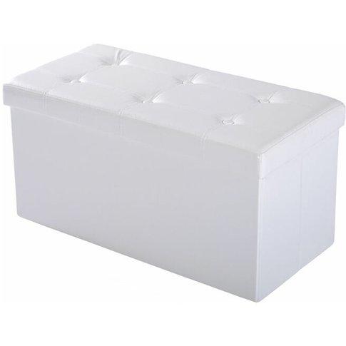 Homcom Folding Faux Leather Storage Cube Ottoman Ben...