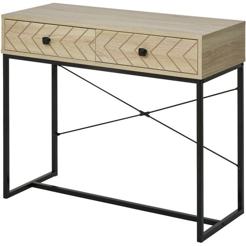 Zig-Zag Console Table End Side Storage W/ 2 Drawers ...