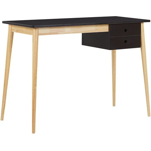 Home Office Desk 106 X 48 Cm Black With Light Wood E...