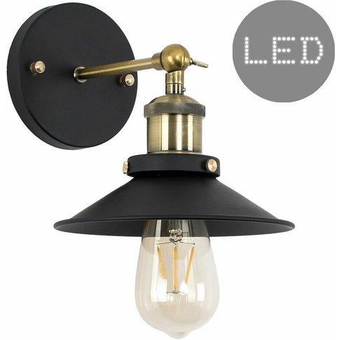 Industrial Black & Brass Wall Light + Shade + 4w Led...