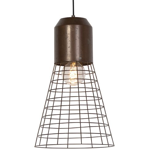 Industrial Pendant Lamp 31.5cm Rust Brown With Wire ...