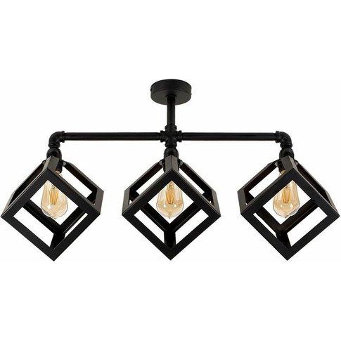 Black 3 Way Ceiling Light Bar - Eschor Cube - Minisun