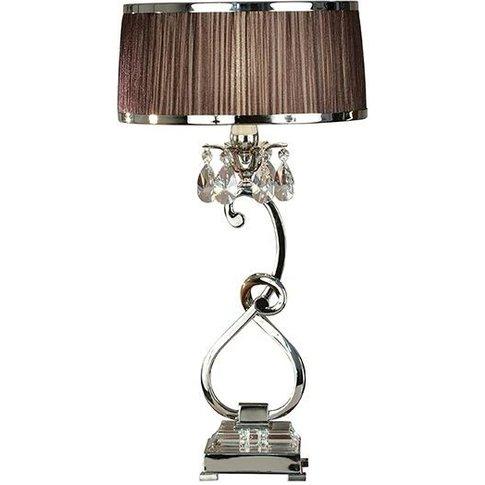 Oksana Nickel Medium Table Lamp And Chocolate Shade ...