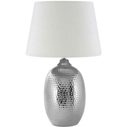 Big Living - Jane Table Lamp, Chrome Hammered Cerami...