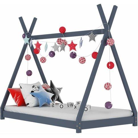 Kids Bed Frame Grey Solid Pine Wood 90x200 Cm - Vidaxl